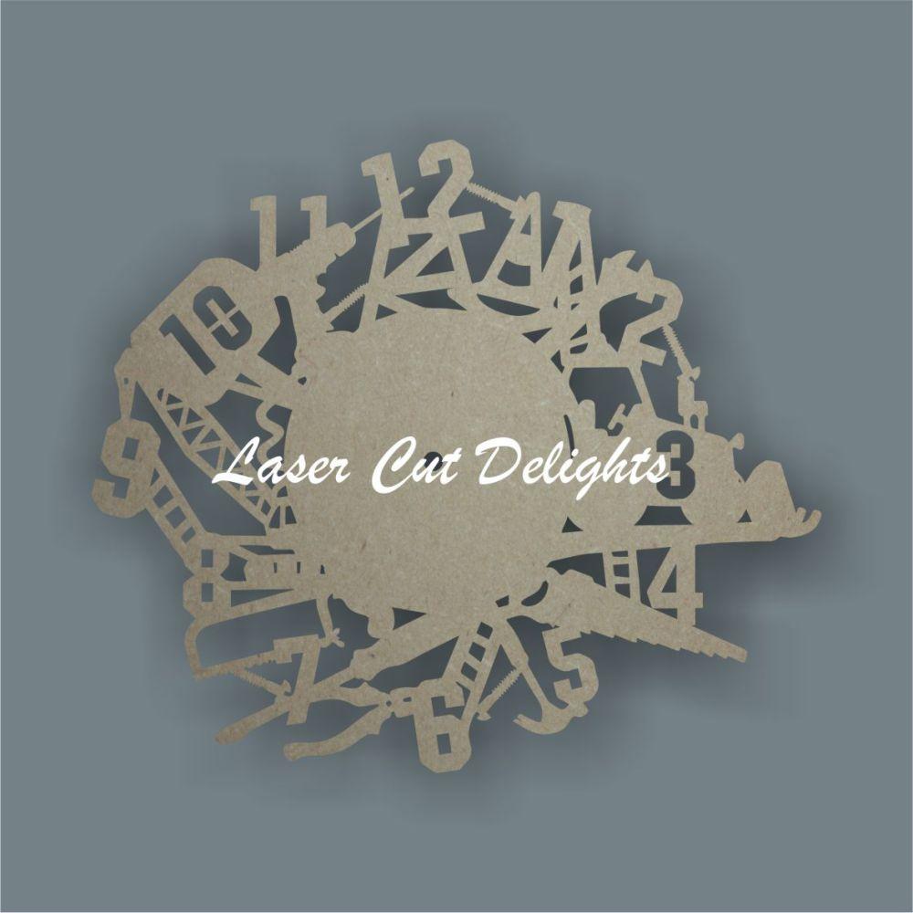 CLOCK - Construction Theme / Laser Cut Delights