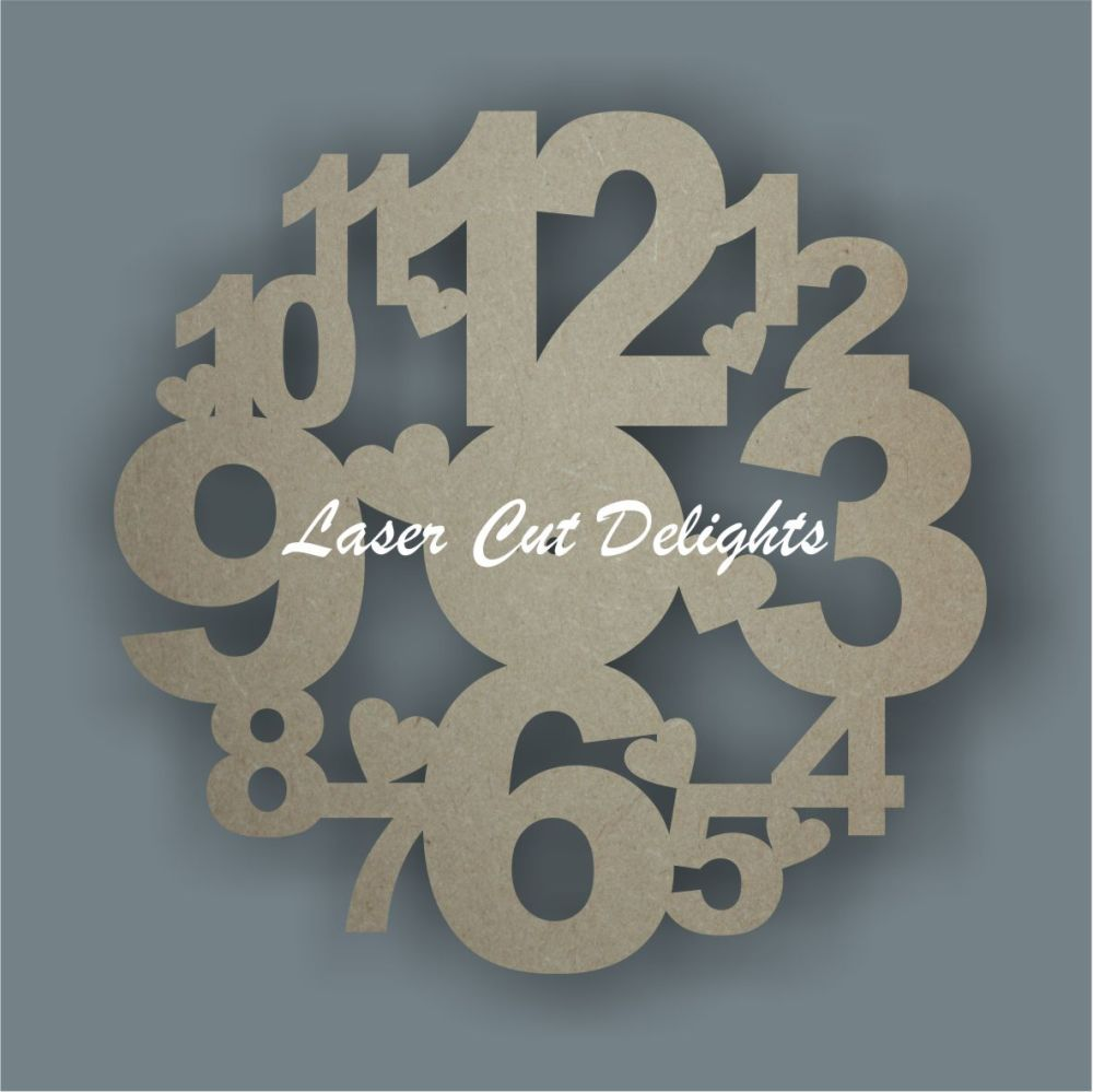CLOCK - Large Numbers & Hearts / Laser Cut Delights