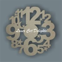 CLOCK - Large Numbers with Stars & Moon / Laser Cut Delights
