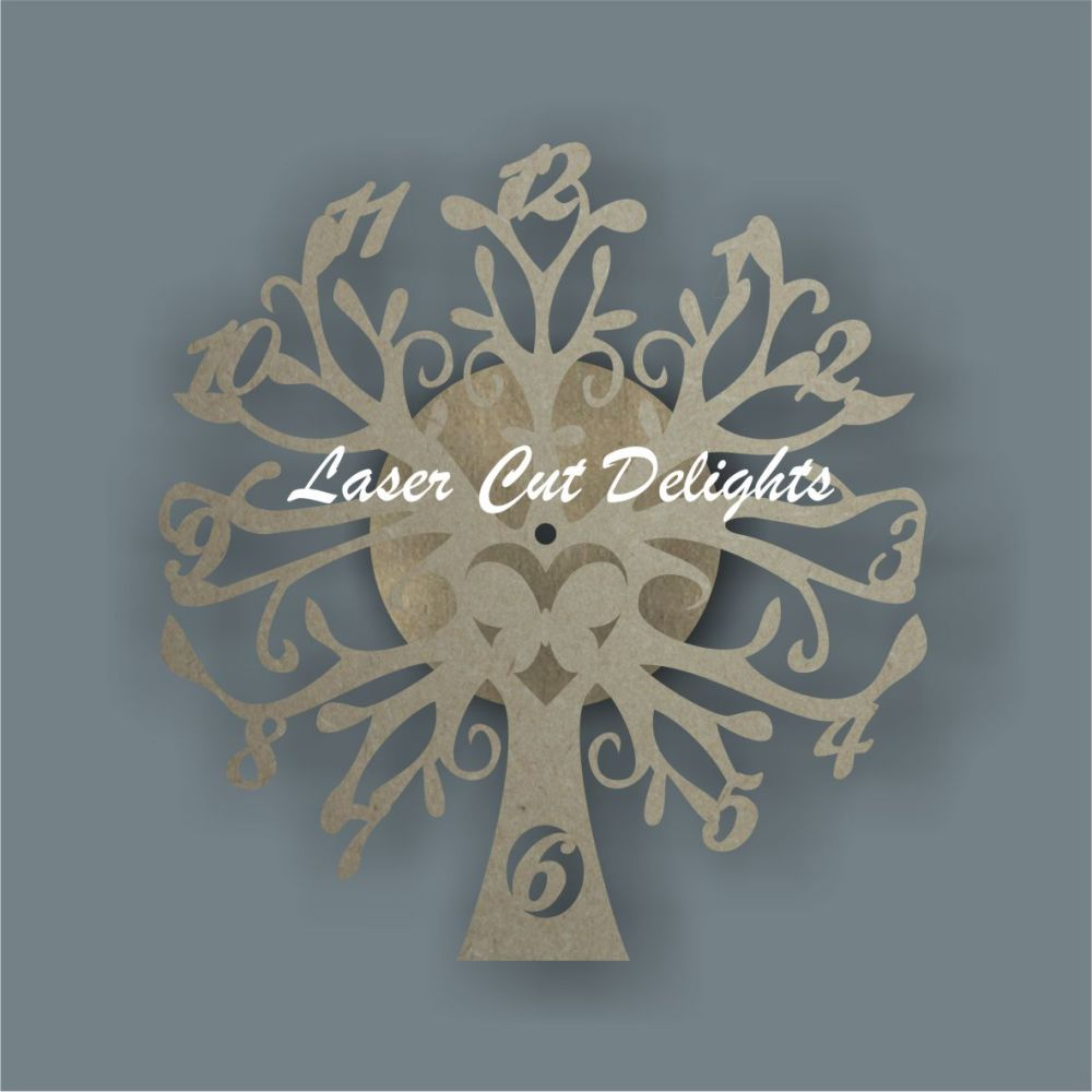 CLOCK - Tree with Butterfly / Laser Cut Delights