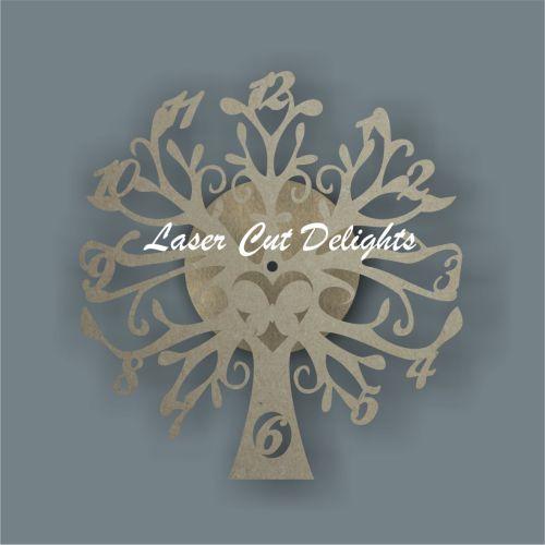 laser cut tree clock butterfly shape