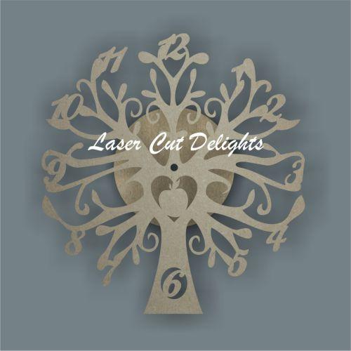 laser cut tree clock apple