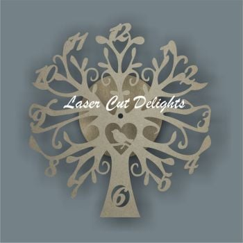 CLOCK - Tree with Bird / Laser Cut Delights