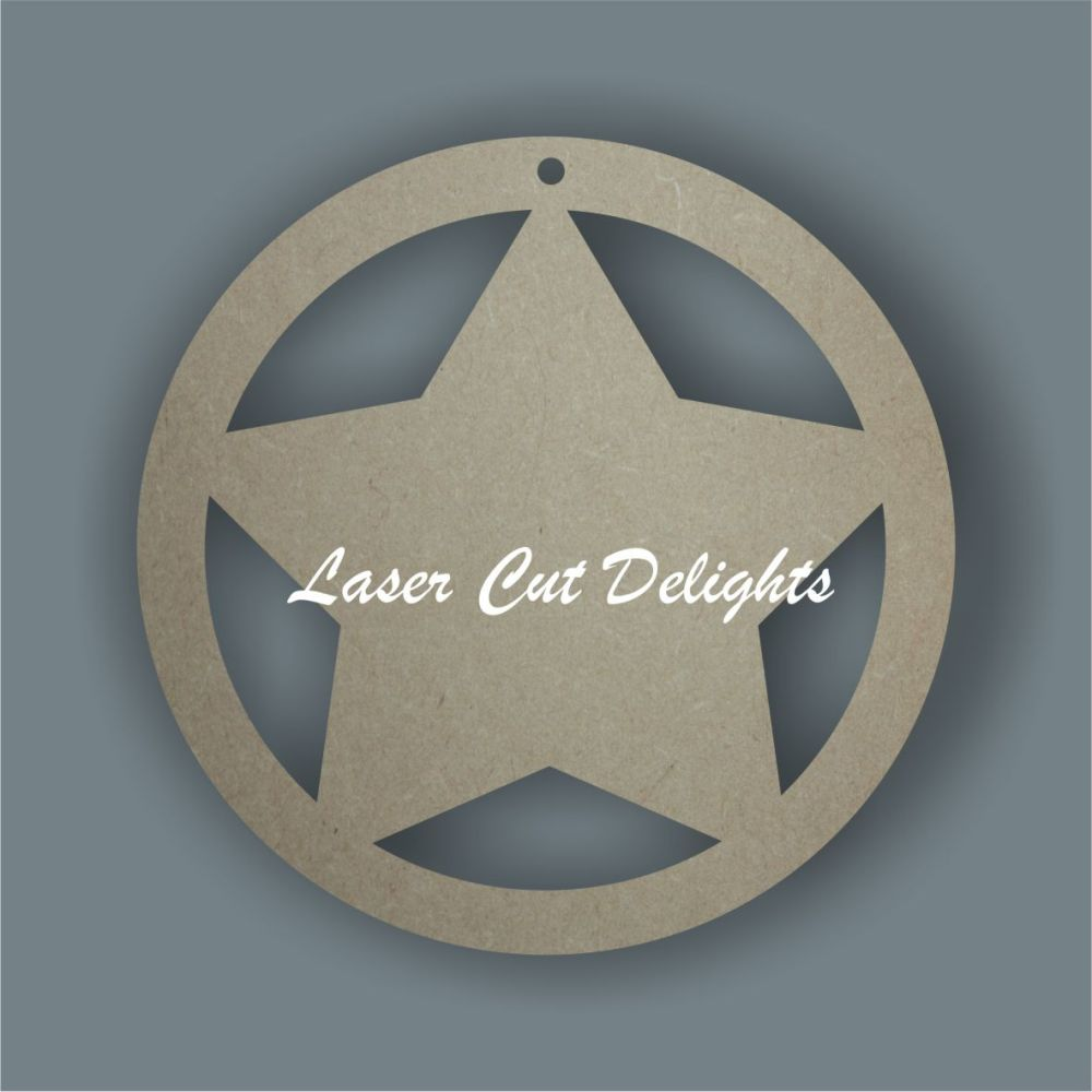 Bauble with star  / Laser Cut Delights