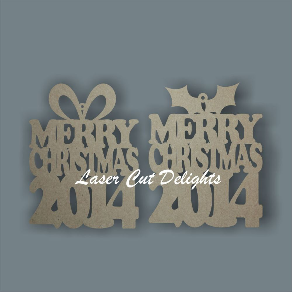 Bauble PRESENT - Merry Christmas or Nadolig Llawen / Laser Cut Delights