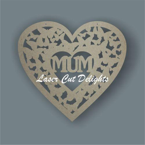 Heart of butterflies with MUM MOM MAM NAN 3mm 20cm