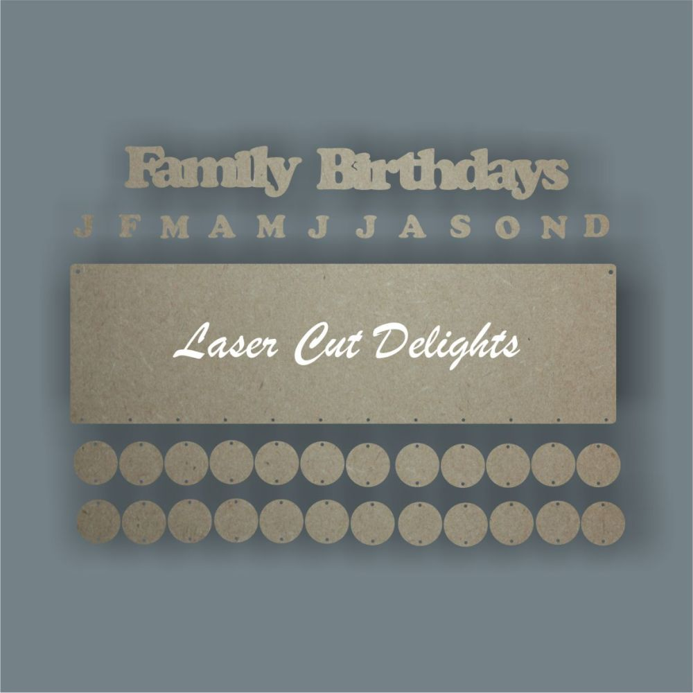 Birthday Calendar Dates Board (English or Welsh) / Laser Cut Delights