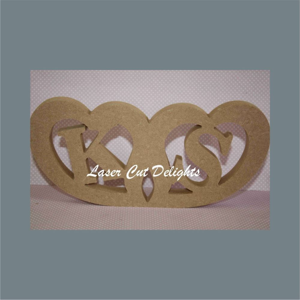 Conjoined Hearts with Initials Inside 18mm / Laser Cut Delights