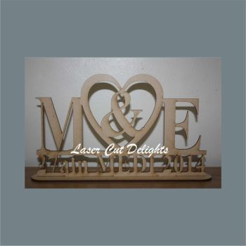 Initials & Heart Wedding Plaque 3mm freestanding 30cm