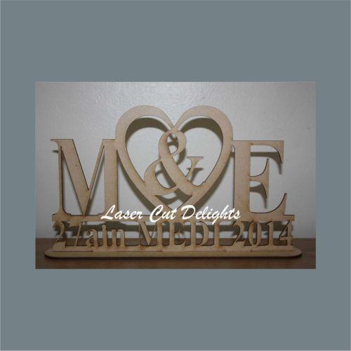 Initials & Heart Wedding Plaque 3mm freestanding 30cm