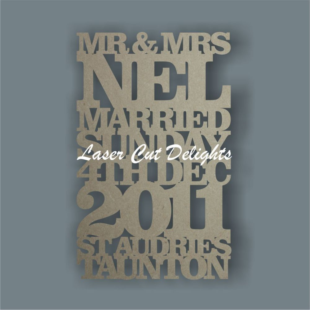 Personalised Wedding Details Sign 3mm 25x40cm or 20x30cm