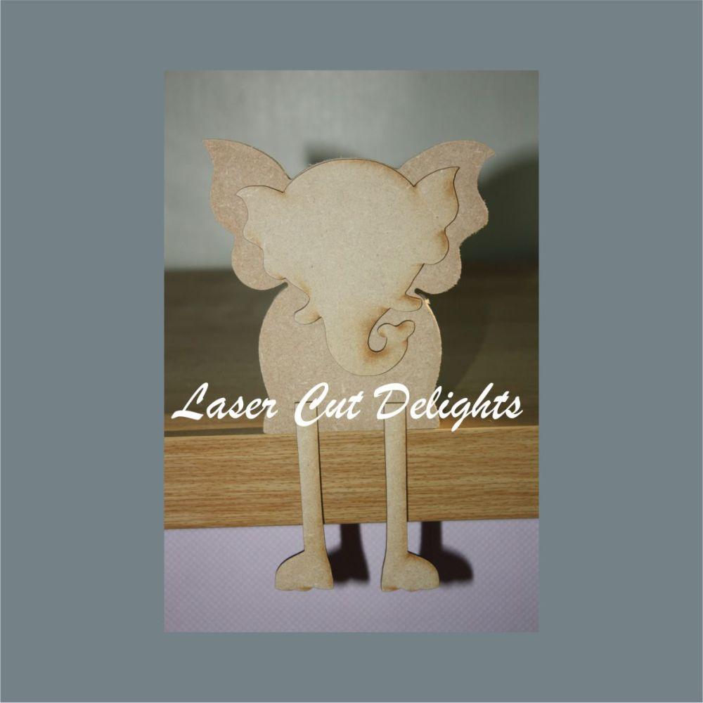 Edge Dangling Leg or Freestanding 3D ELEPHANT 18mm 15cm