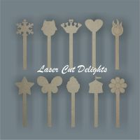 Shapes on Wand Stick / Laser Cut Delights