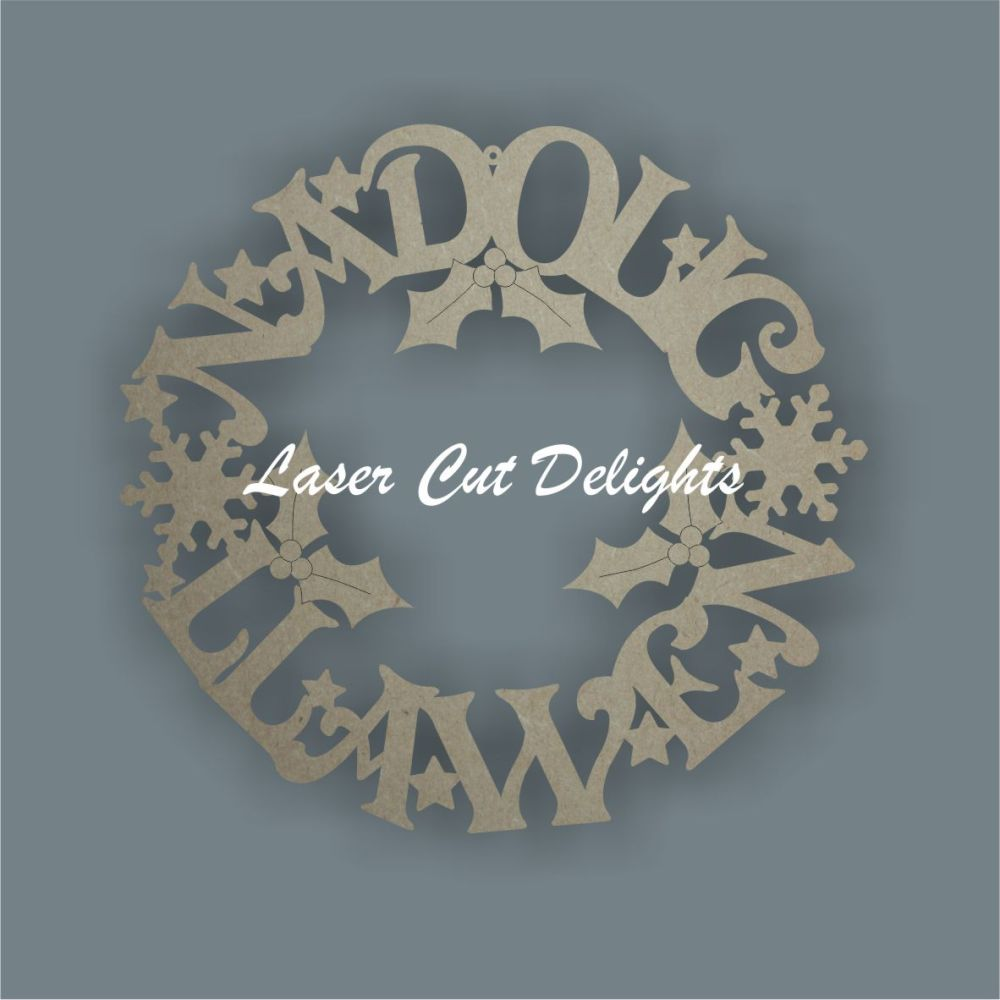 Wreath Welsh or English - (Nadolig Llawen/Merry Christmas) / Laser Cut Delights