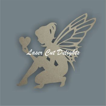 Fairy Crouching holding Heart/Star / Laser Cut Delights
