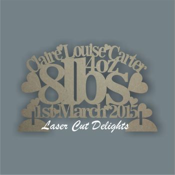 Birth Plaque Baby Details Curved 30cm
