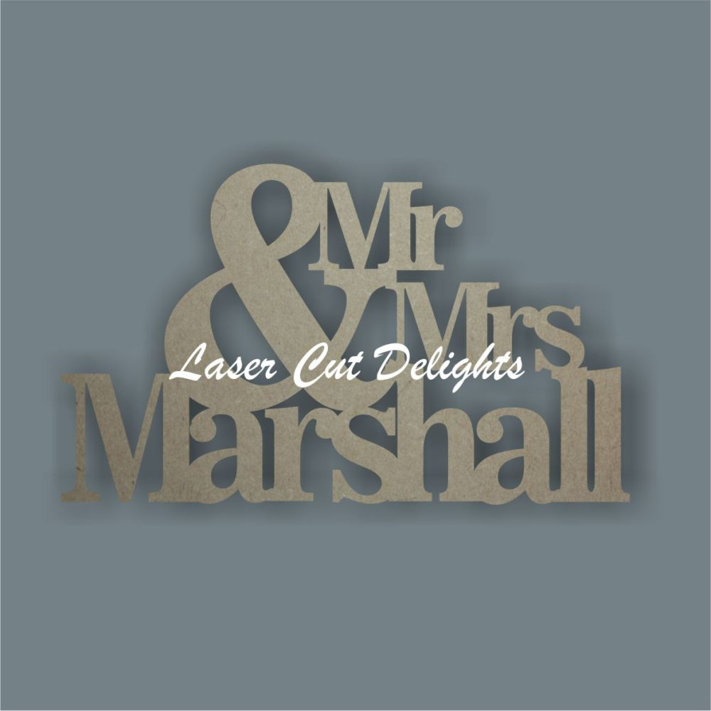 Mr & Mrs Surname 18mm / Laser Cut Delights