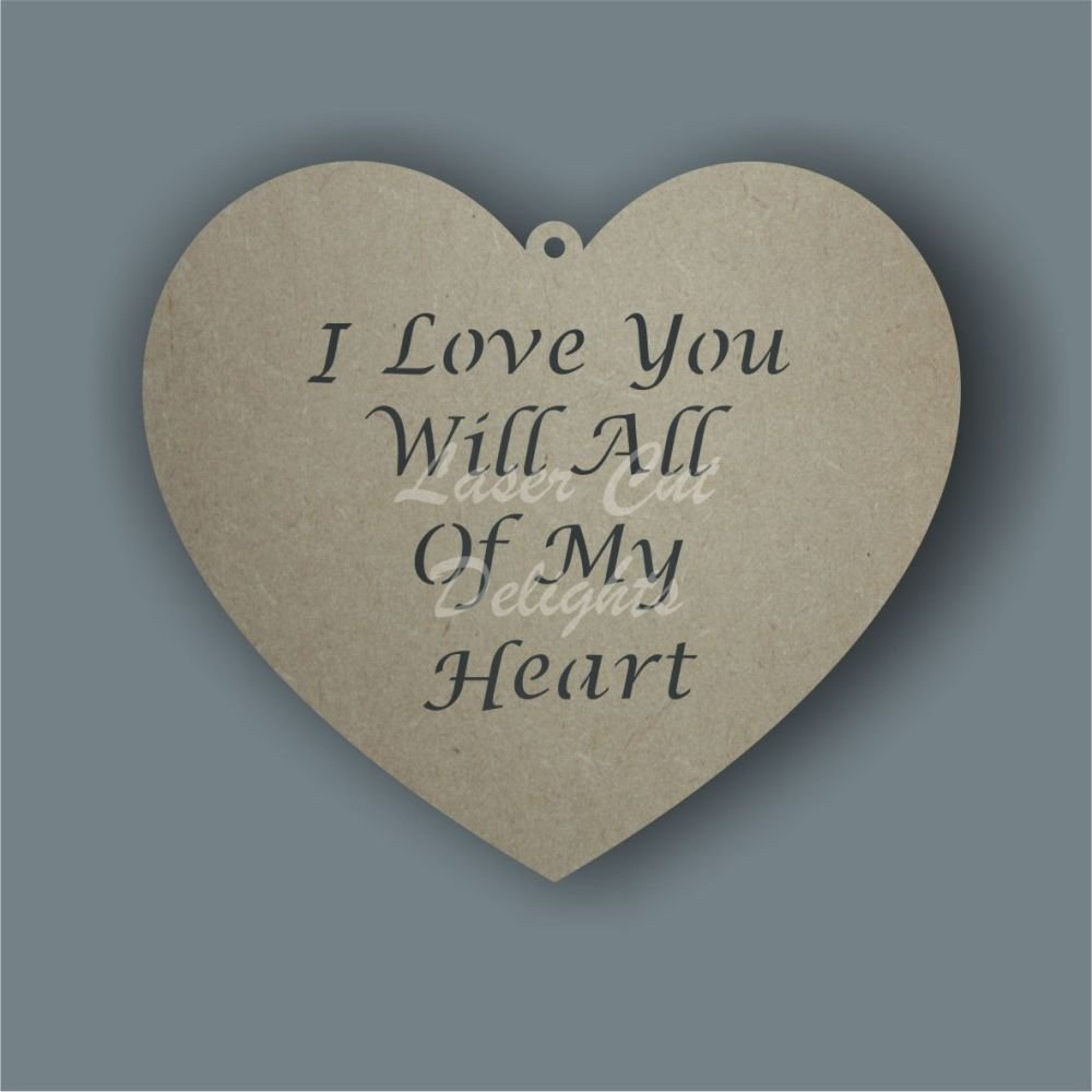 Heart - choose your wording CUT THROUGH / Laser Cut Delights