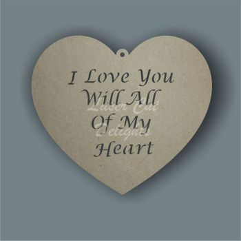 Heart - choose your wording CUT THROUGH 3mm 20cm