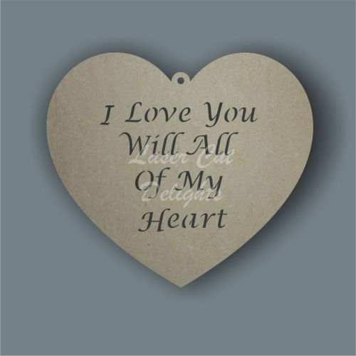 Heart - various wording options 3mm 20cm