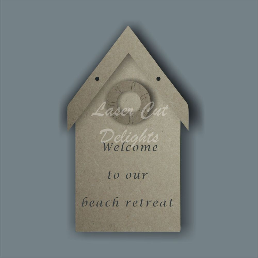 3D Beach Hut Plaque / Laser Cut Delights