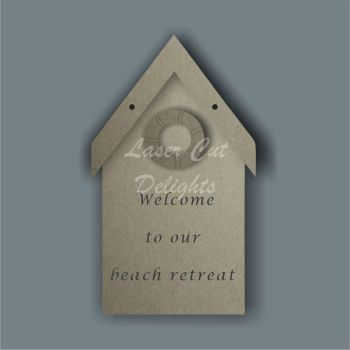 3D Beach Hut Plaque 3mm 20cm