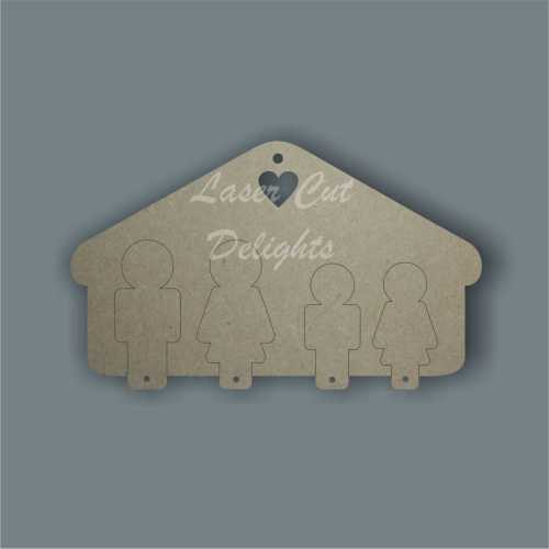 3D Family Key Holder (up to 4 people) 3mm 12cm