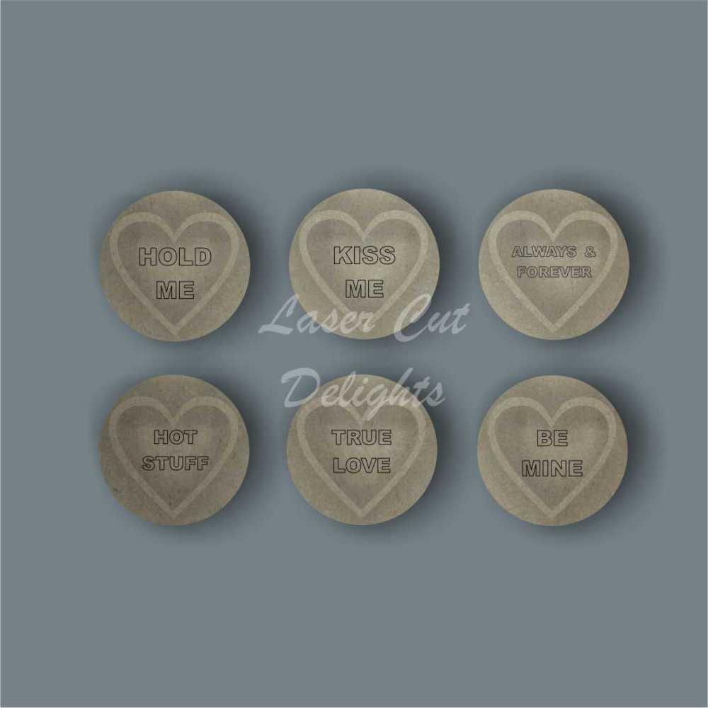 3D Love Hearts (ETCHED WORDING) / Laser Cut Delights