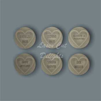 3D Love Hearts (ETCHED WORDING) / Laser Cut Delights