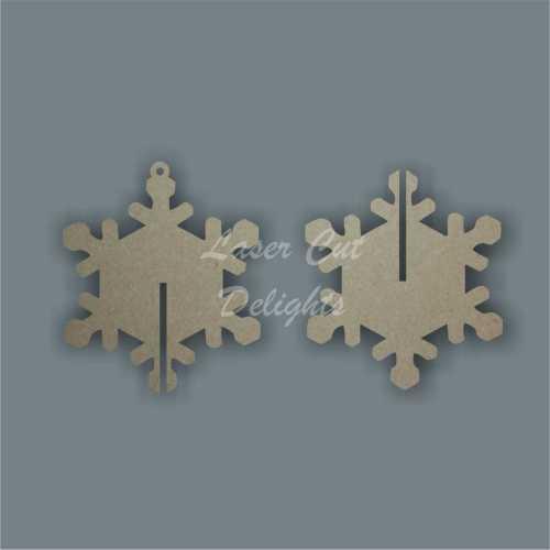 3D Snowflake (plain) 3mm 10cm