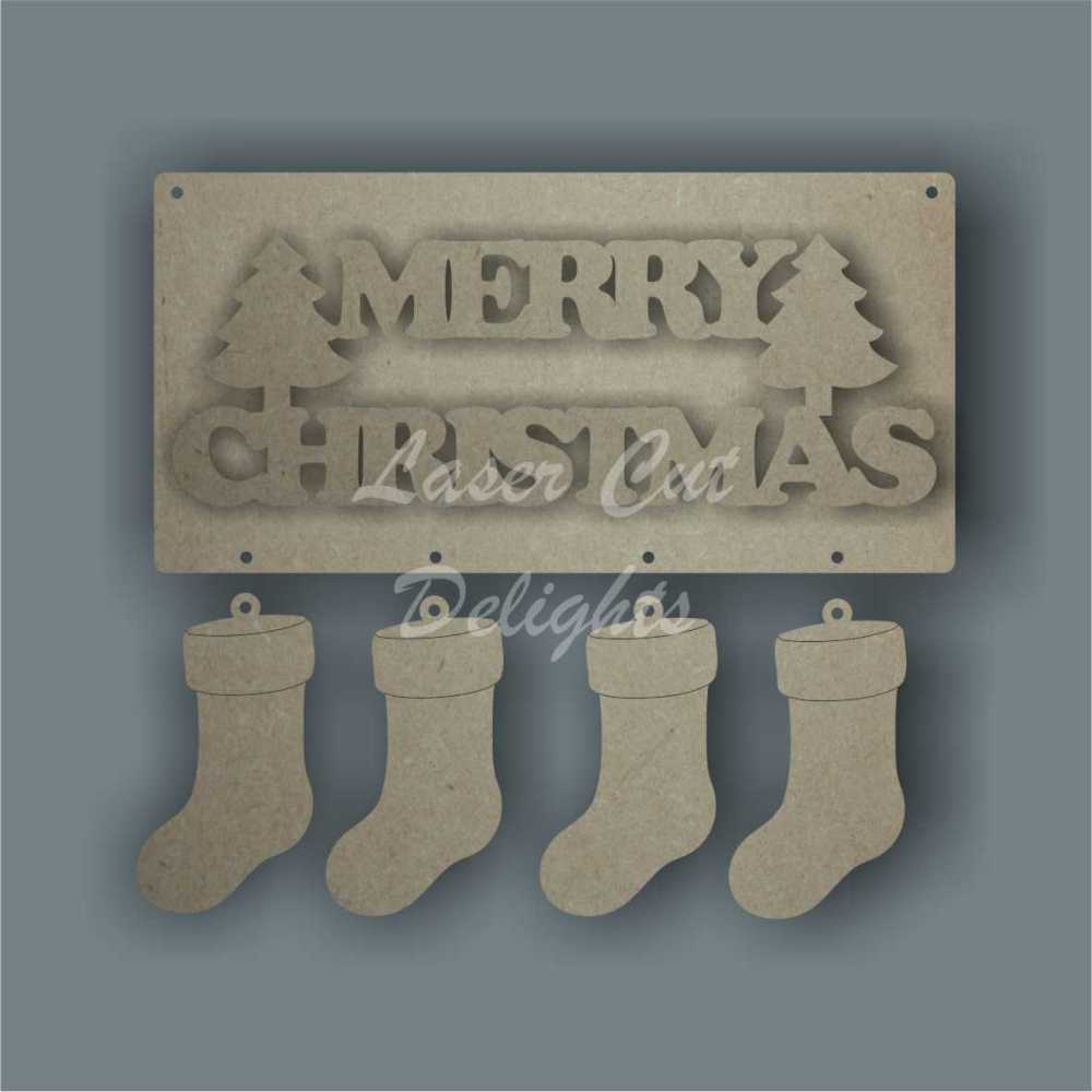 Merry Christmas (+ choice of embellishment) 3mm 20x10cm