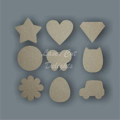 mini laser cut shapes for drop boxes
