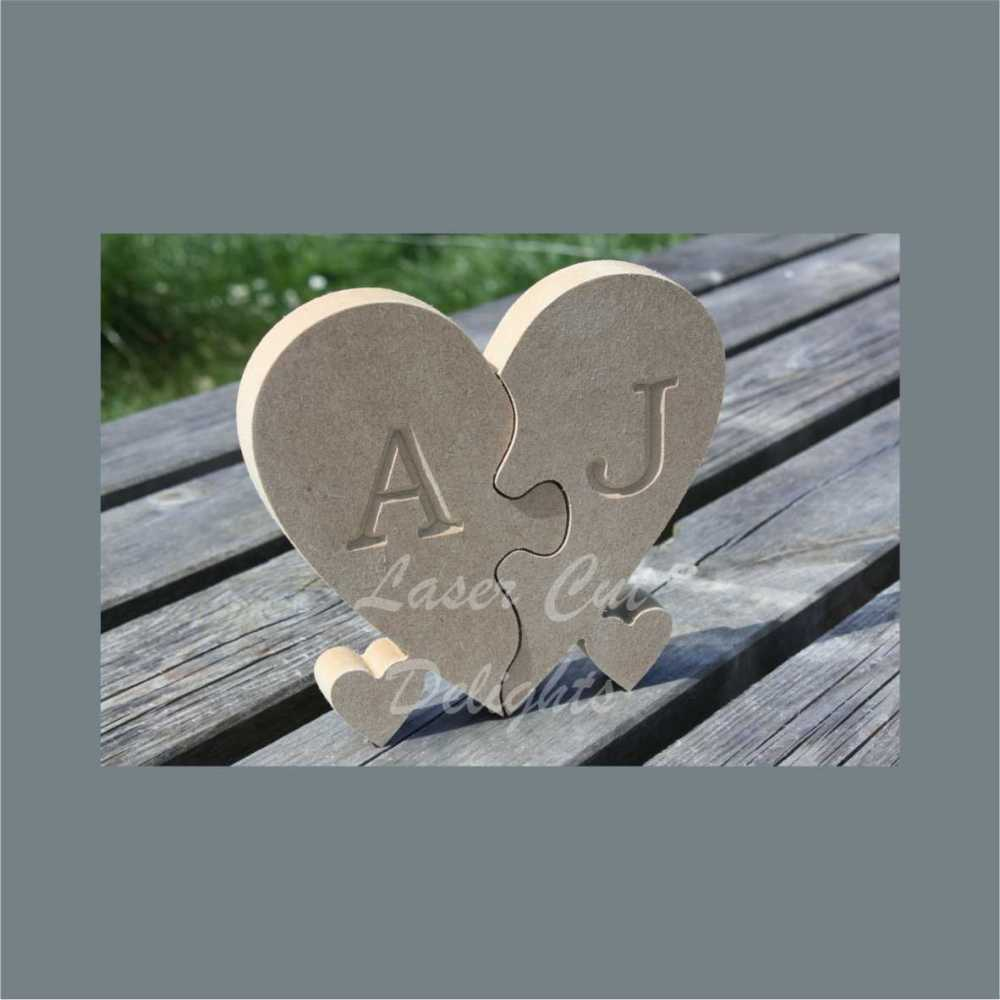 Heart Engraved on two pieces Jigsaw Puzzle  18mm / Laser Cut Delights