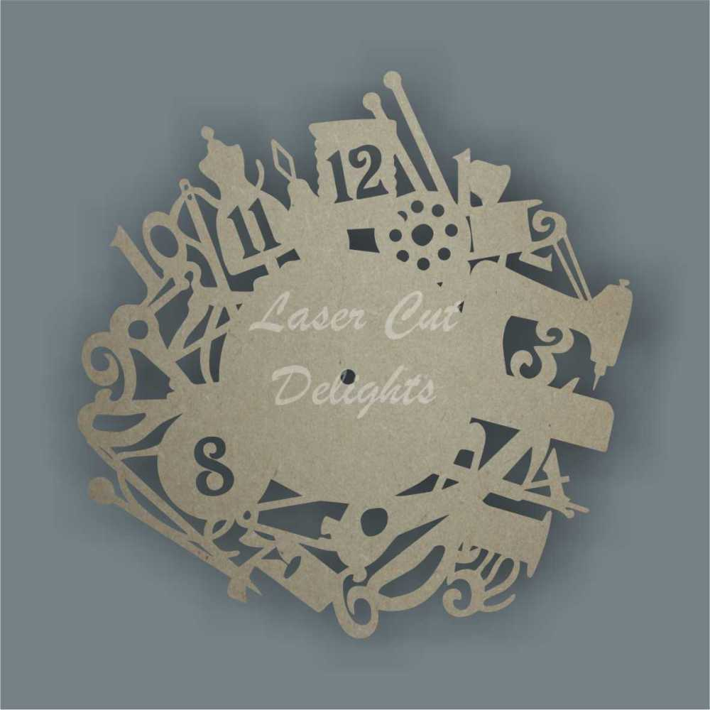 CLOCK - Craft Theme / Laser Cut Delights