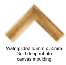 watergilded gold 55mm x 55mm deep rebate canvas moulding