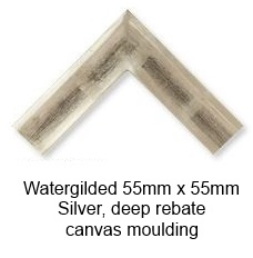 watergilded silver 55mm x 55mm deep rebate canvas moulding