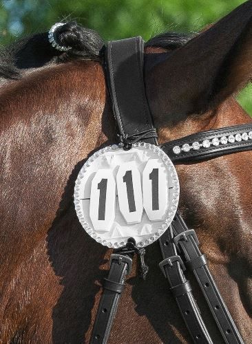 Crystal effect competition starting number holder for bridle sold in pairs