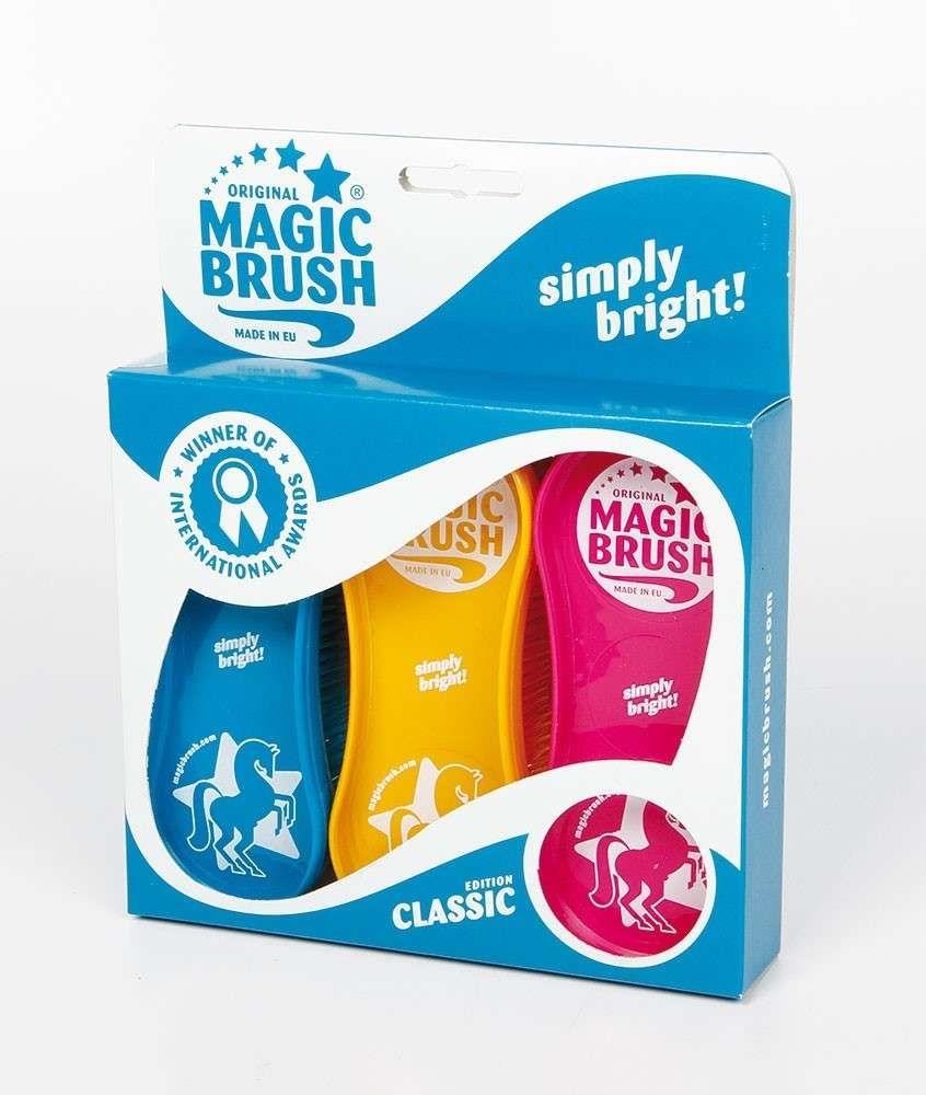 Magic Brushes Set of 3 + Choice of Colours - Horse Dog Cat Pet Grooming Brushes