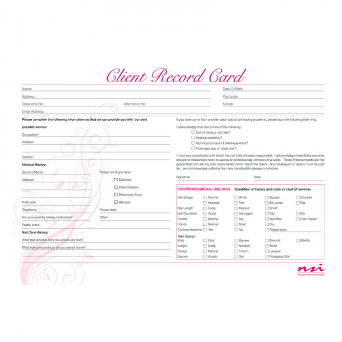 Consultation Cards - Nail enhancements (Pack 20)