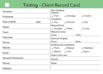 Lash tint client record cards (Pack of 20) FREE DELIVERY