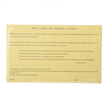 Client cards - Aftercare (Pack 20) FREE DELIVERY