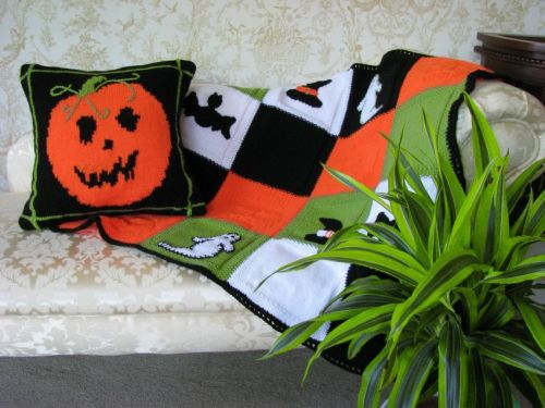 Seasonal Cushion Cover & Throw Pattern - Halloween