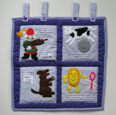 Quilted Wall Hanging - Hey Diddle Diddle Nursery Rhyme
