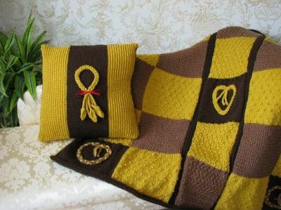 Wheat Plait Cushion and Throw