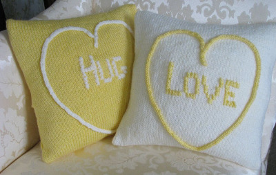 Love Hearts Cushion Covers (Love & Hug) Kit