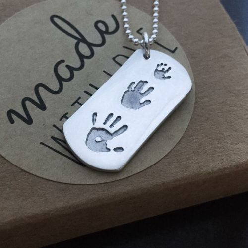 TRIPPLE PRINT on LARGE size pendant necklace