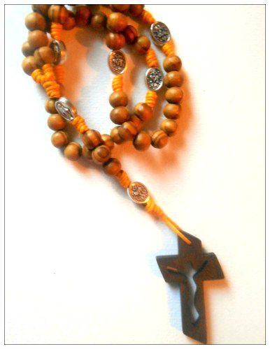 Knotted Cord Rosary Beads - Burlywood, Miraculous Medal,  Mustard