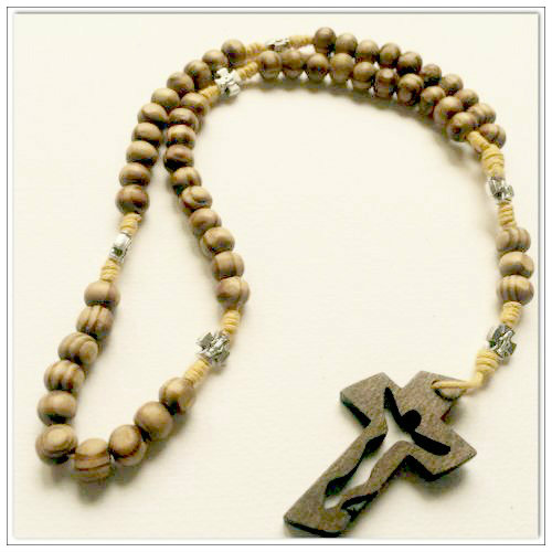 Knotted Cord Rosary Beads - Burlywood, Holy Family,  Mustard