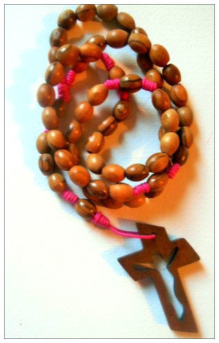 Knotted Cord Rosary Beads - Olivewood Pink