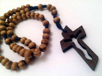 Knotted Cord Rosary Beads - Burlywood Navy